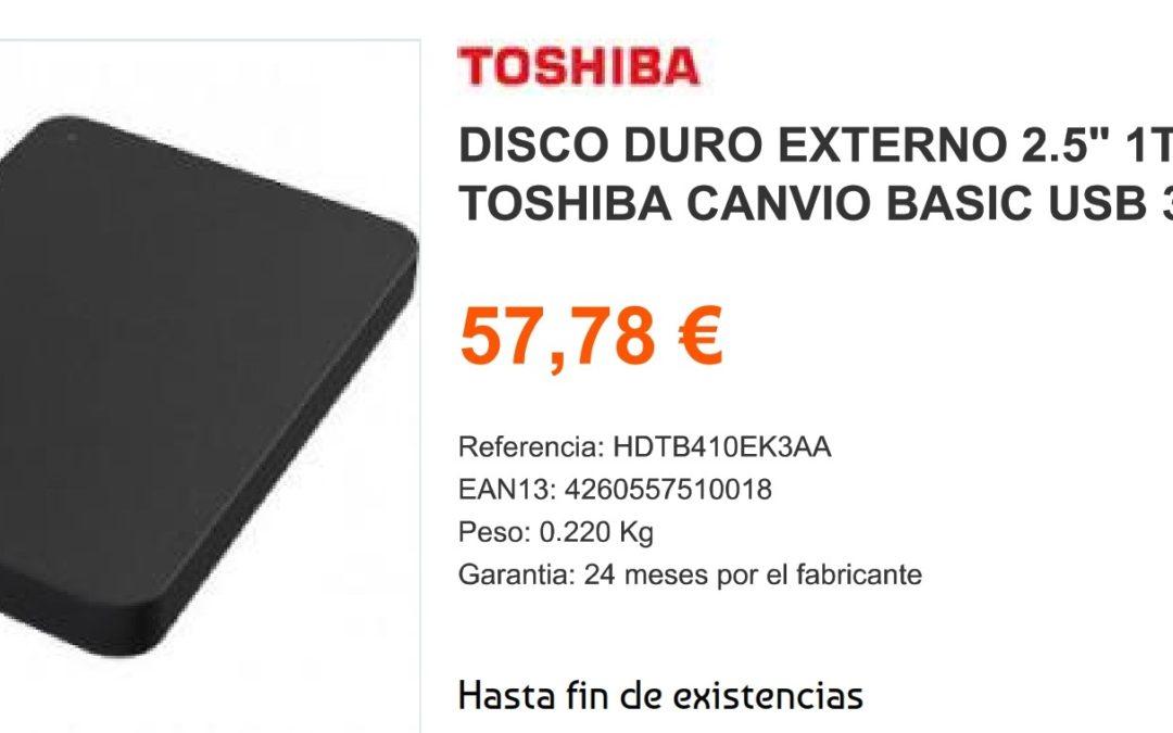 Toshiba 1TB Disco Duro Externo